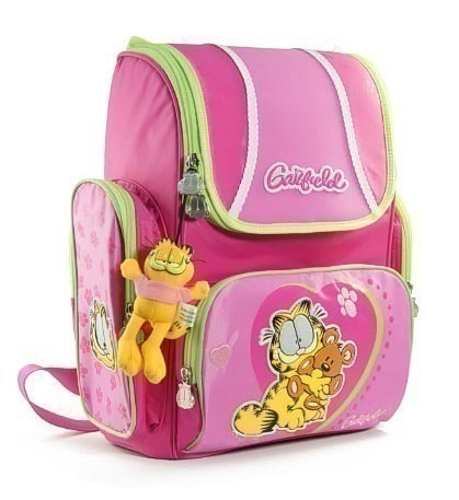 Школьный рюкзак с ортопедической спинкой Garfield (С мишкой, зеленый.